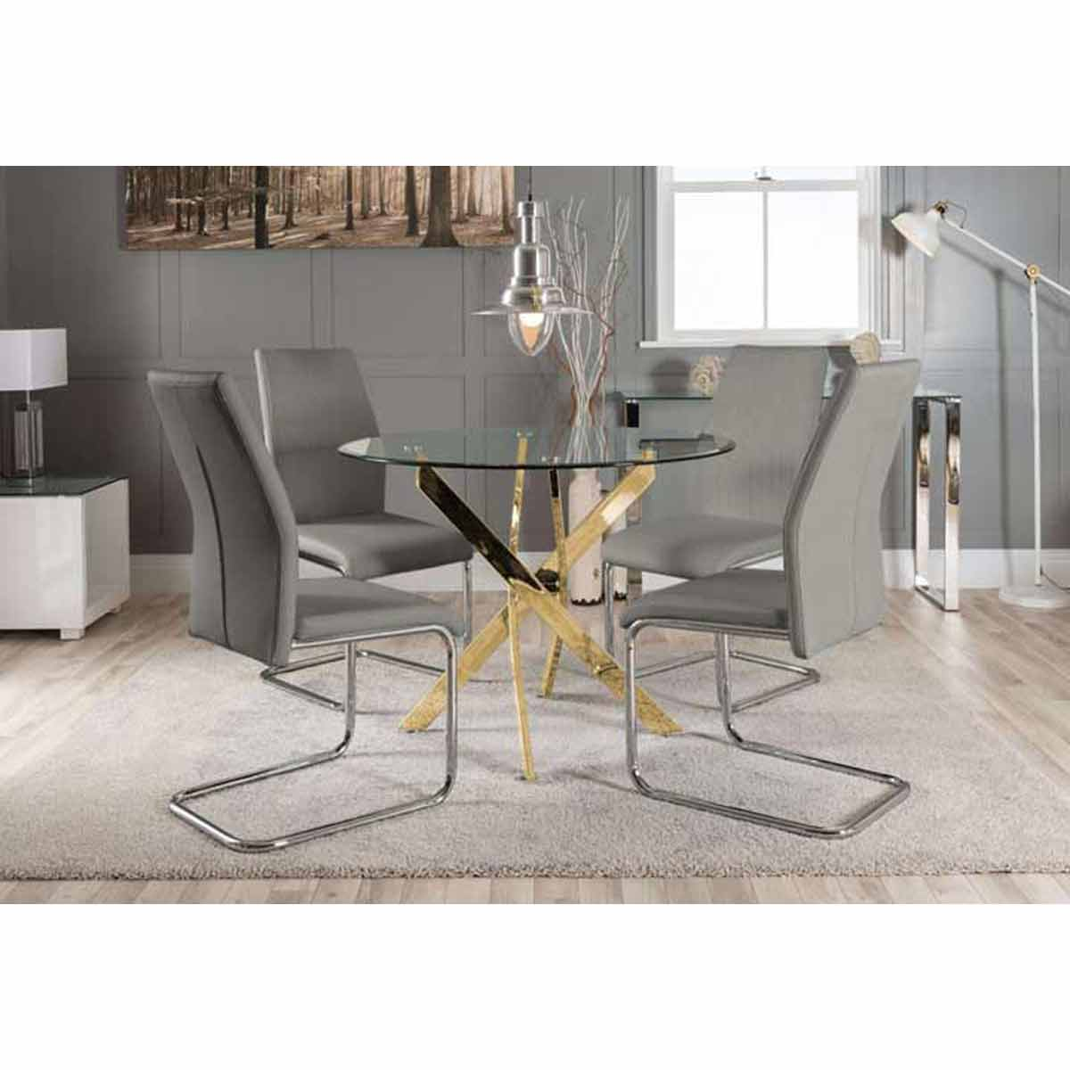 Furniture Box Novara Gold Metal Round Glass Dining Table And 4 Elephant Grey Lorenzo Dining Chairs