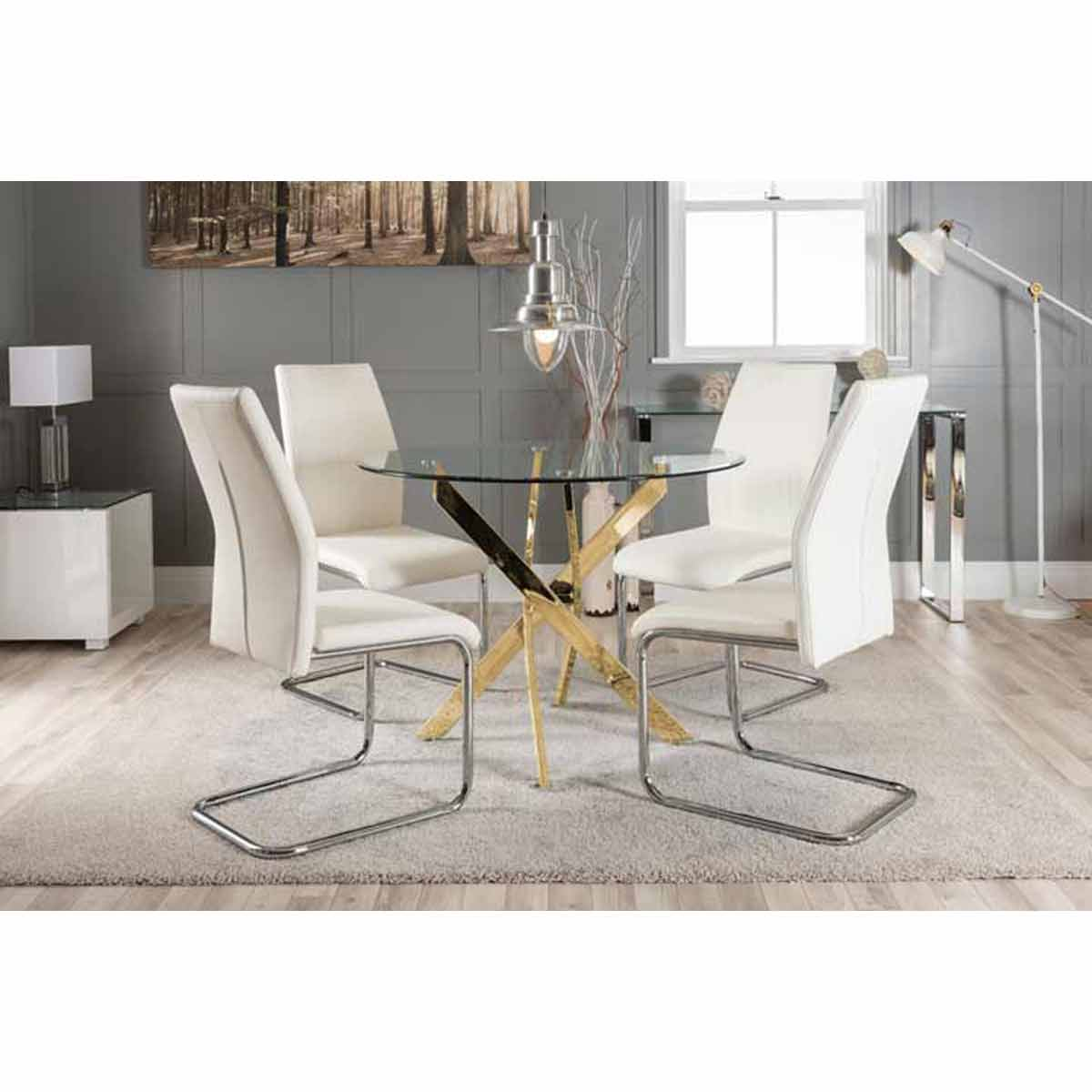 Furniture Box Novara Gold Metal Round Glass Dining Table And 4 White Lorenzo Dining Chairs