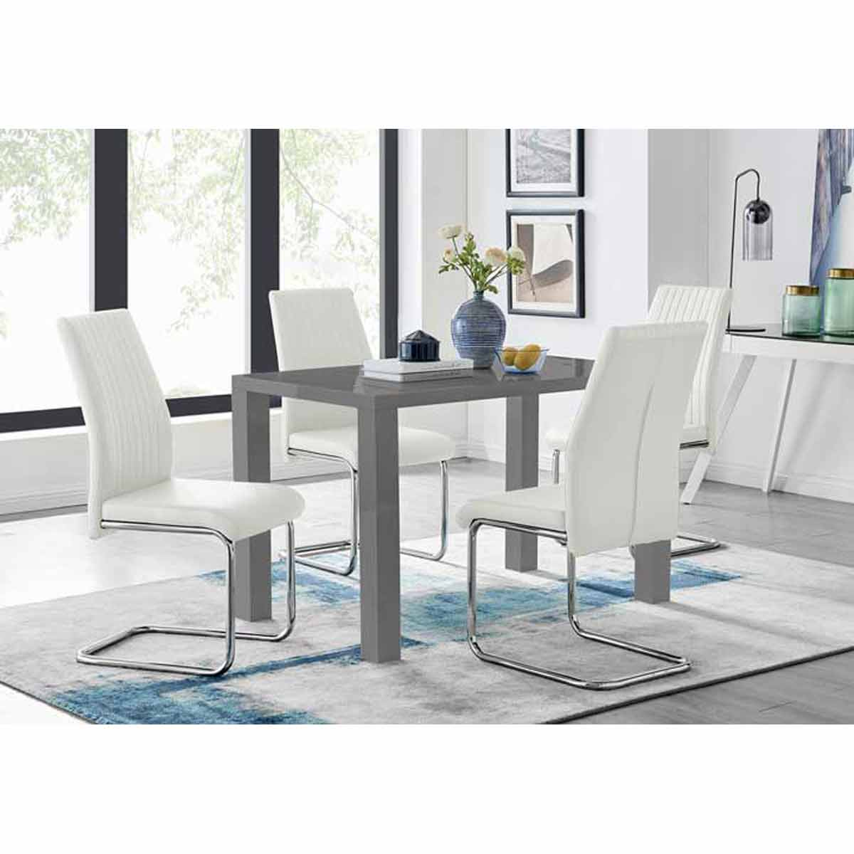 Furniture Box Pivero Grey High Gloss Dining Table And 4 White Lorenzo Chairs Set