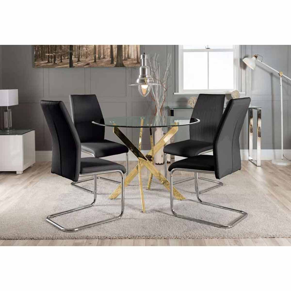 Furniture Box Novara Gold Metal Round Glass Dining Table And 4 Black Lorenzo Dining Chairs