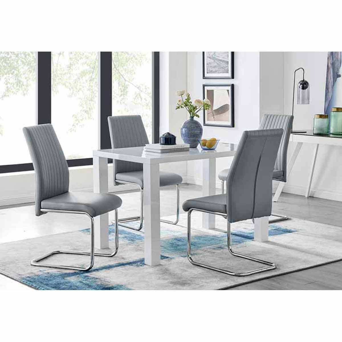 Furniture Box Pivero White High Gloss Dining Table And 4 Elephant Grey Lorenzo Chairs Set
