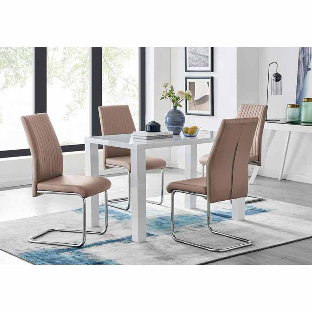 Furniture Box Pivero White High Gloss Dining Table And 4 Cappuccino Grey Lorenzo Chairs Set