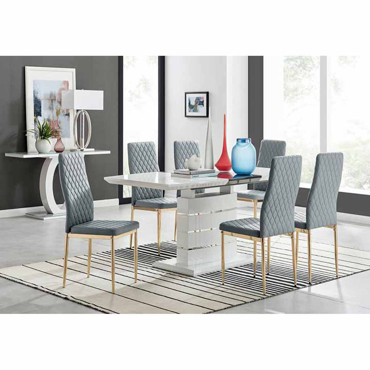Furniture Box Renato 120cm High Gloss Extending Dining Table and 6 Grey Gold Leg Milan Chairs