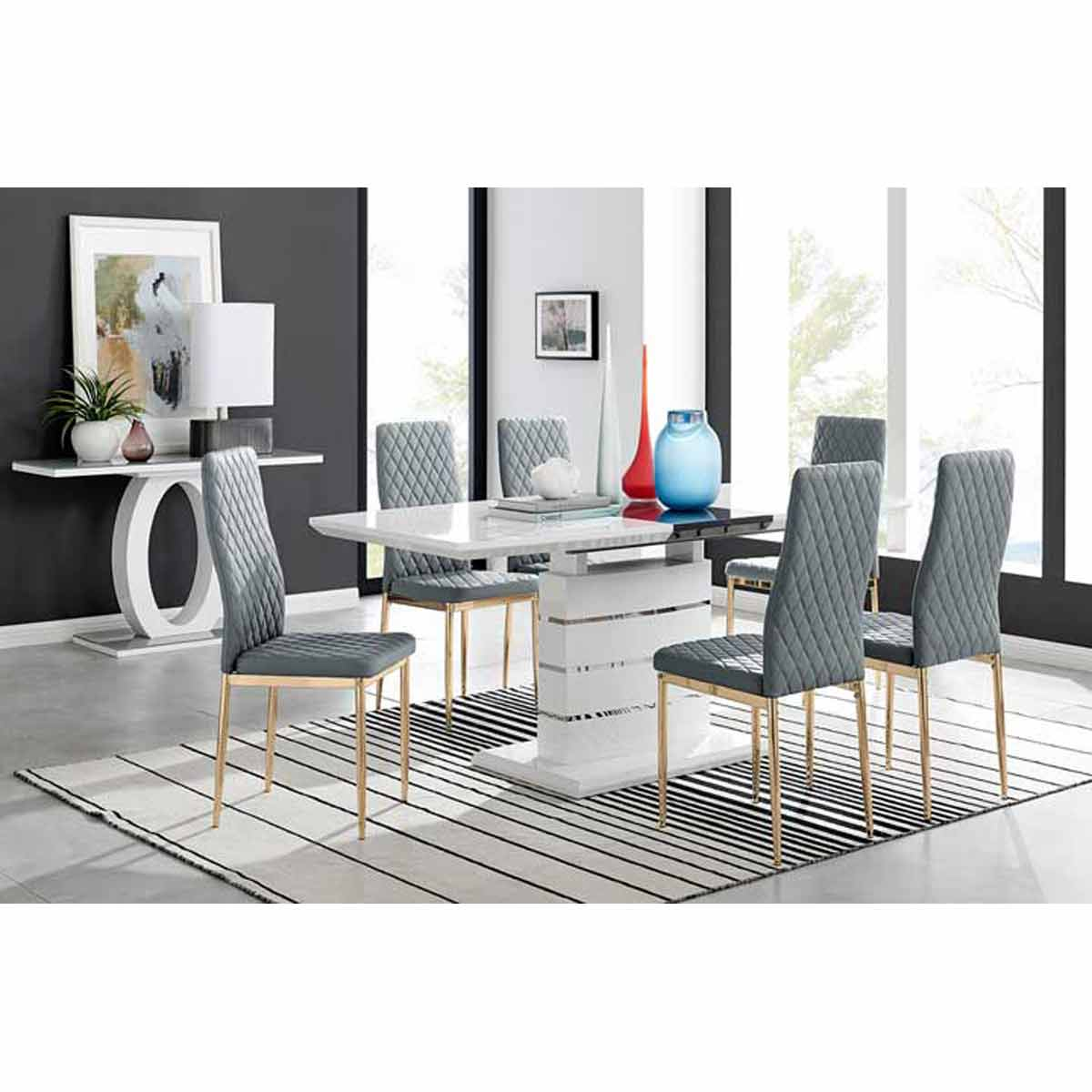 Furniture Box Renato High Gloss Extending Dining Table and 6 Grey Gold Leg Milan Chairs