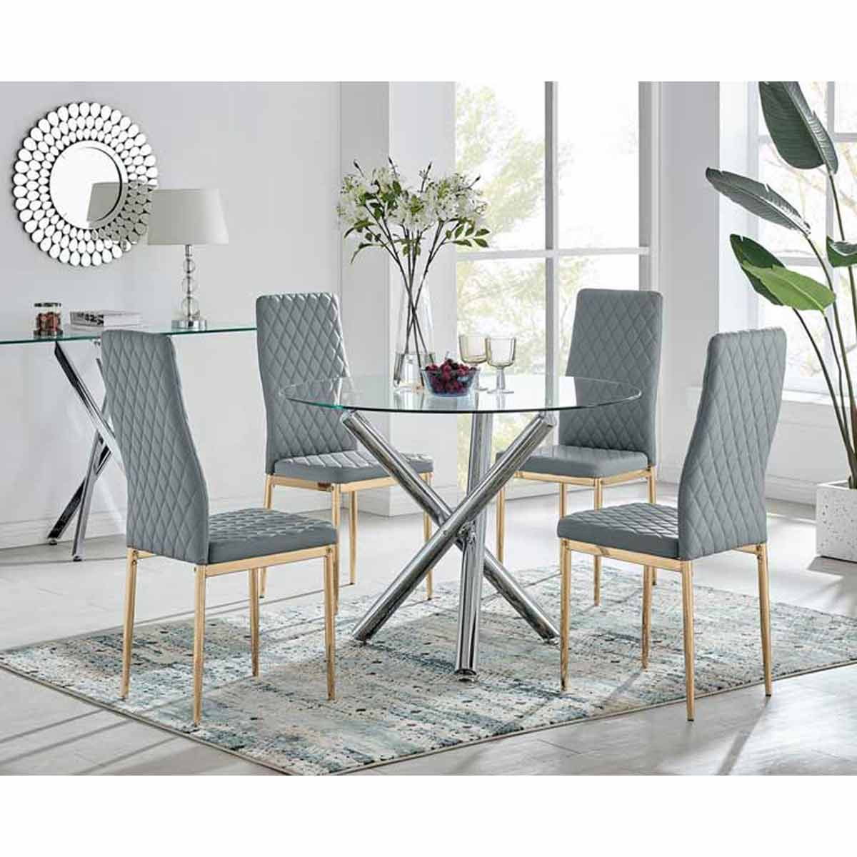 Furniture Box Selina Round Dining Table and 4 Grey Gold Leg Milan Chairs