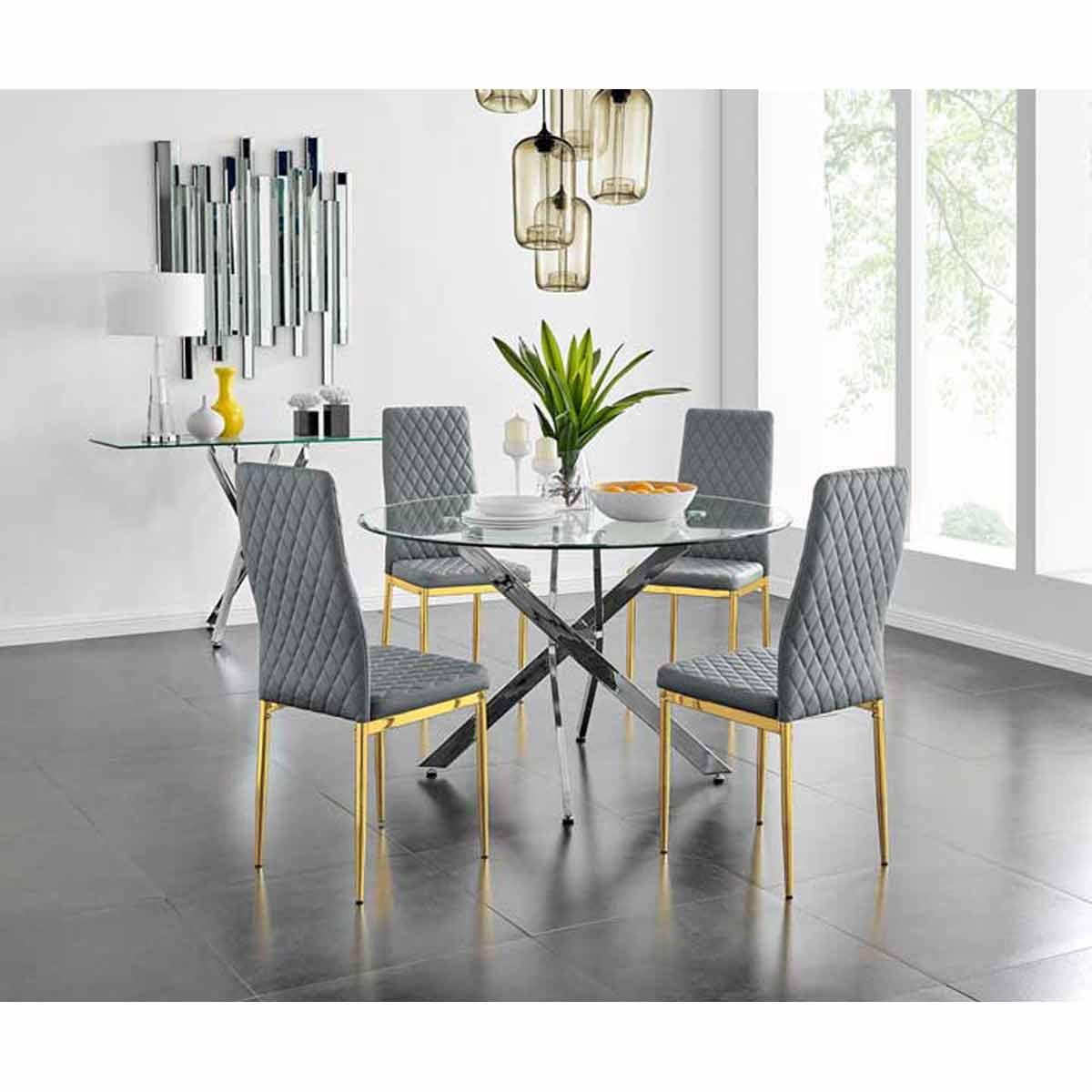 Furniture Box Novara 120cm Round Dining Table and 4 Grey Gold Leg Milan Chairs
