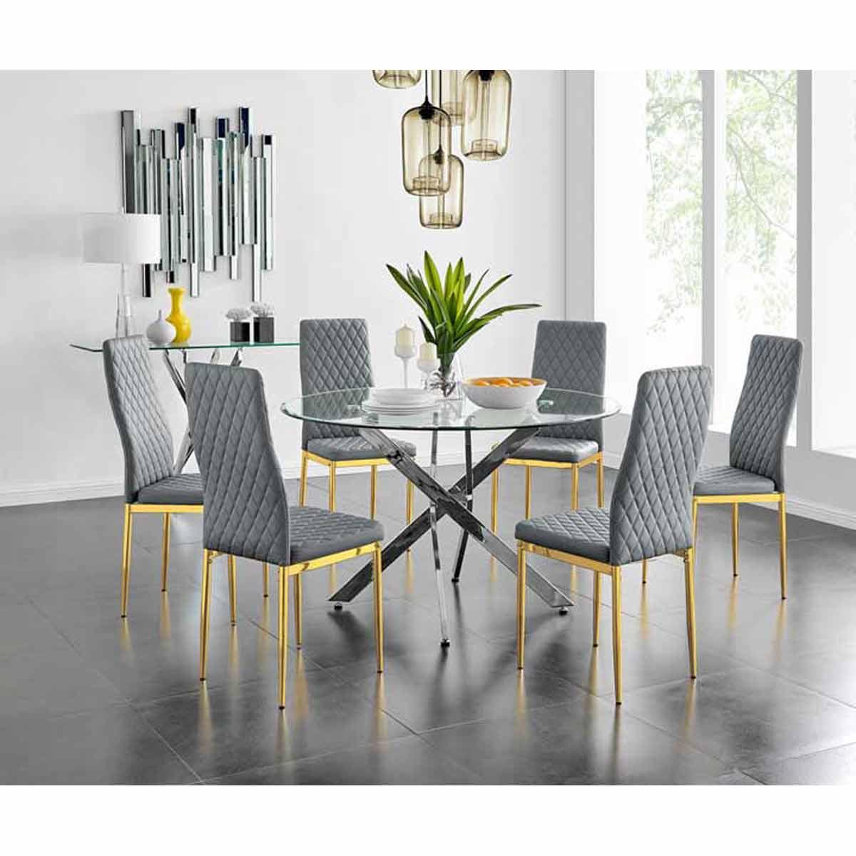 Furniture Box Novara 120cm Round Dining Table and 6 Grey Gold Leg Milan Chairs
