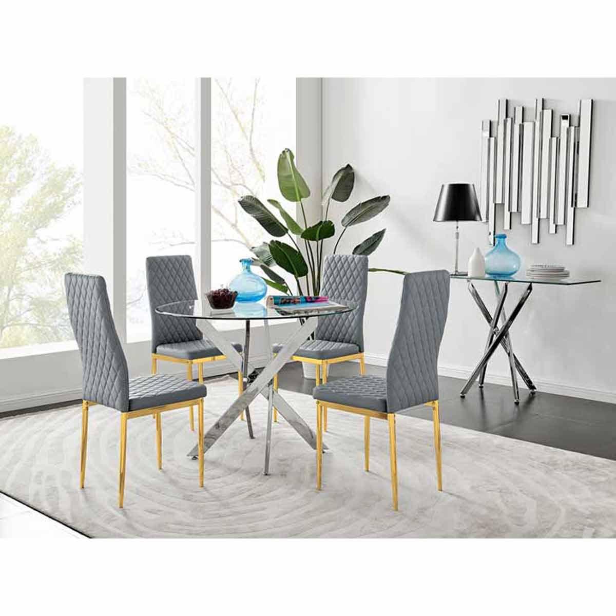 Furniture Box Novara 100cm Round Dining Table and 4 Grey Gold Leg Milan Chairs