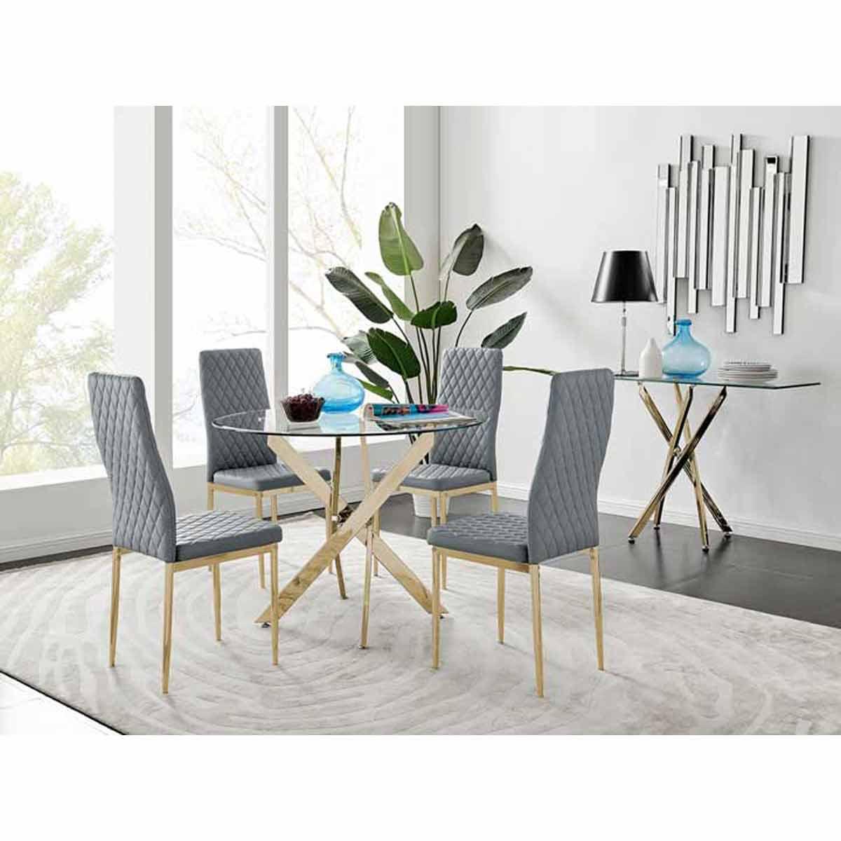 Furniture Box Novara 100cm Gold Round Dining Table and 4 Grey Gold Leg Milan Chairs
