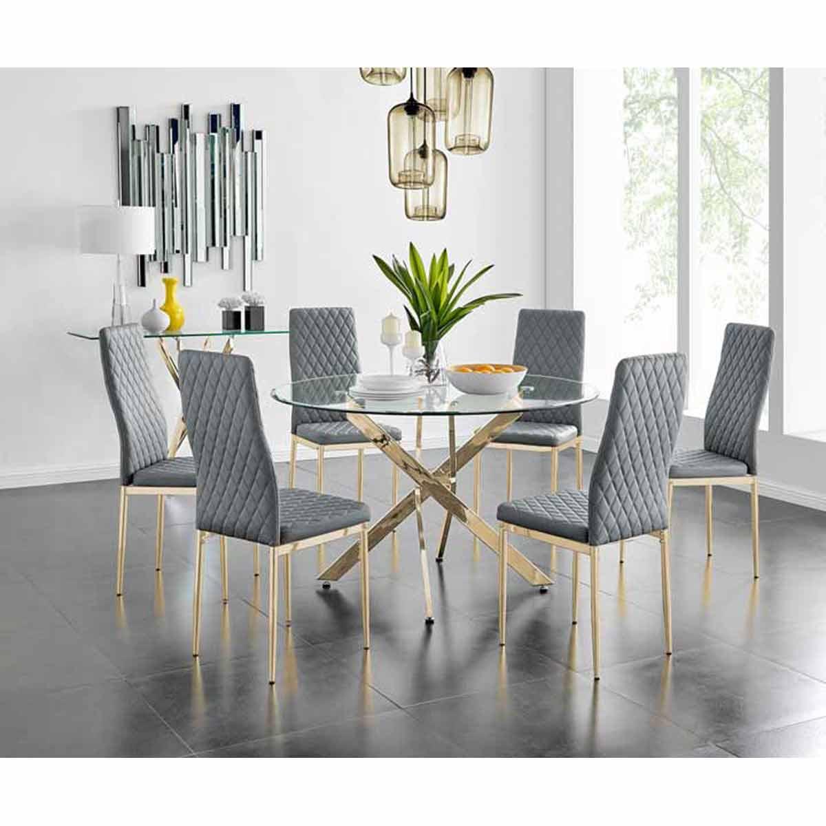 Furniture Box Novara 120cm Gold Round Dining Table and 6 Grey Gold Leg Milan Chairs