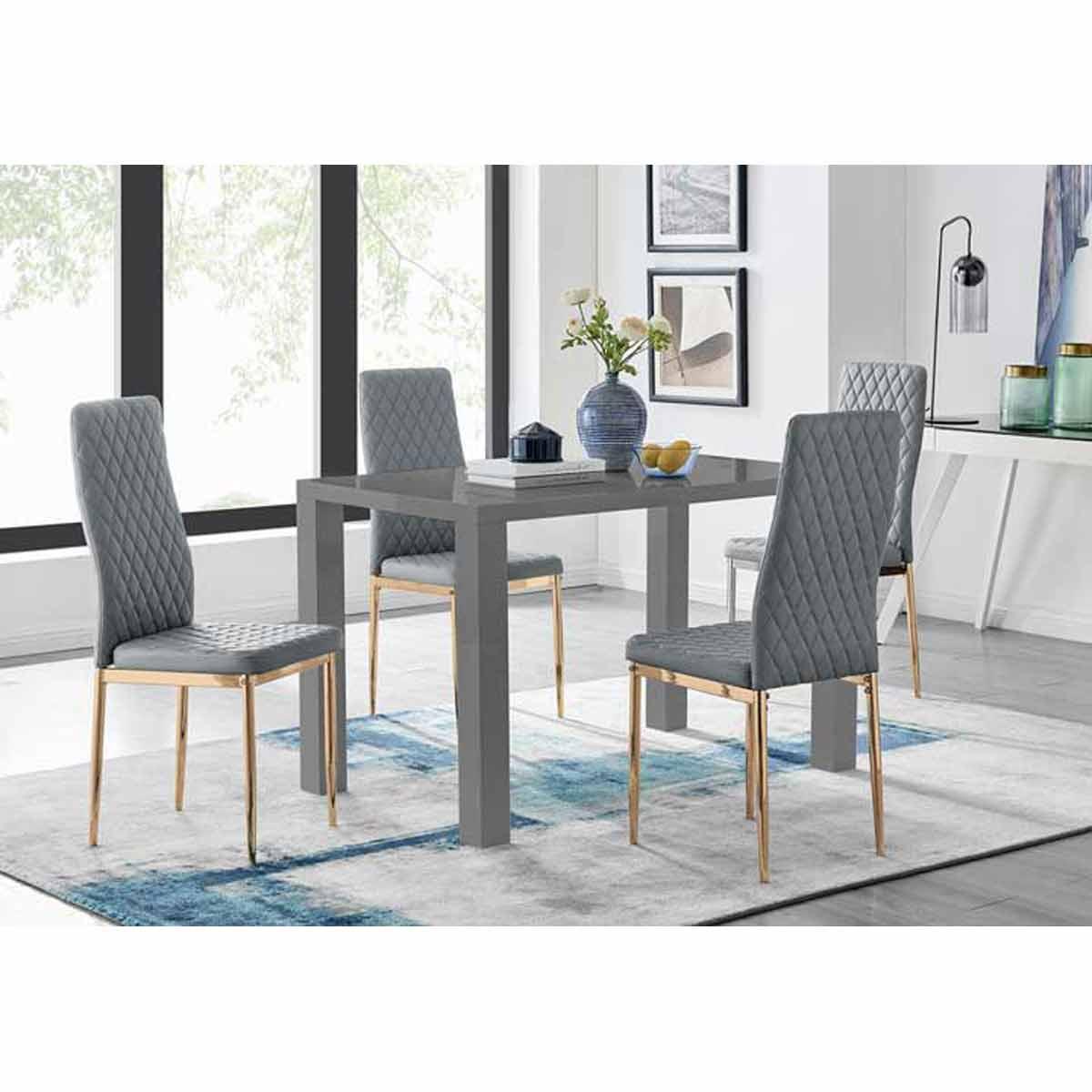 Furniture Box Pivero 4 Grey Dining Table and 4 Grey Gold Leg Milan Chairs