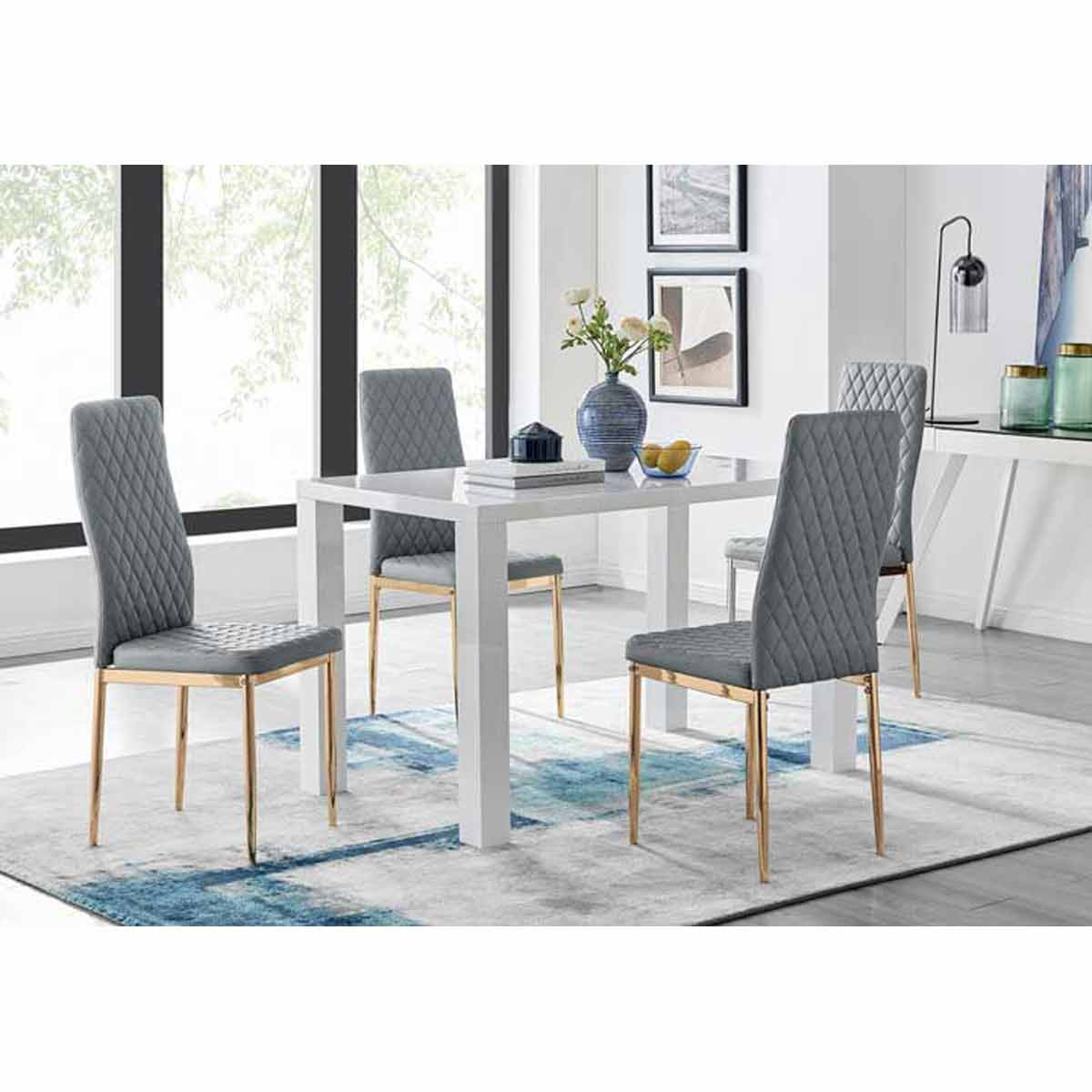 Furniture Box Pivero 4 White Dining Table and 4 Grey Gold Leg Milan Chairs