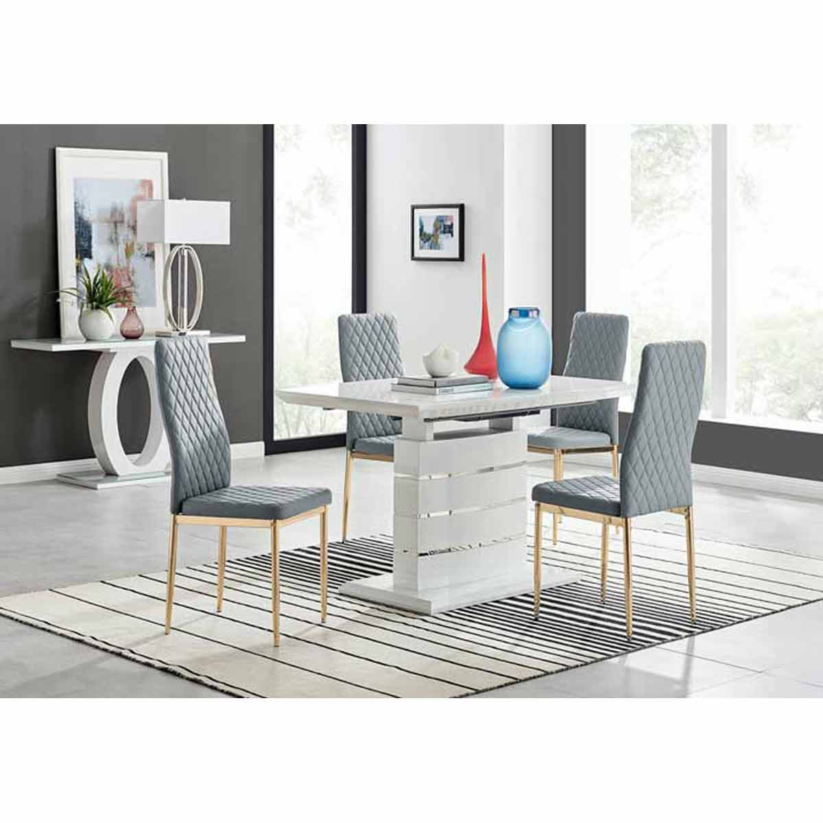 Furniture Box Renato 120cm High Gloss Extending Dining Table and 4 Grey Gold Leg Milan Chairs