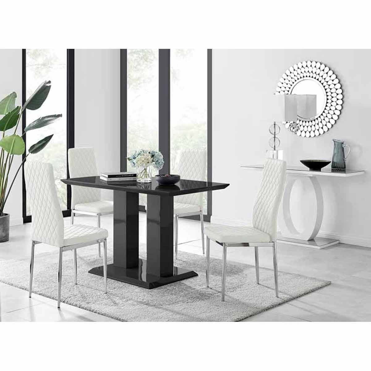 Furniture Box Imperia 4 Modern Black High Gloss Dining Table And 4 White Modern Milan Chairs Set
