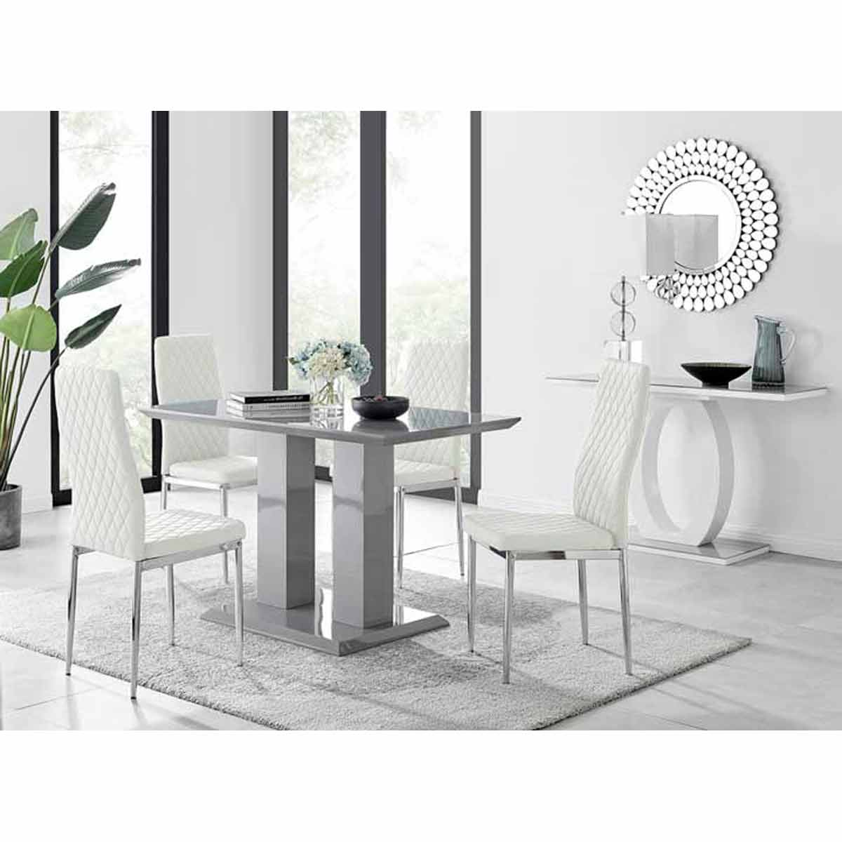 Furniture Box Imperia 4 Modern Grey High Gloss Dining Table And 4 White Modern Milan Chairs Set