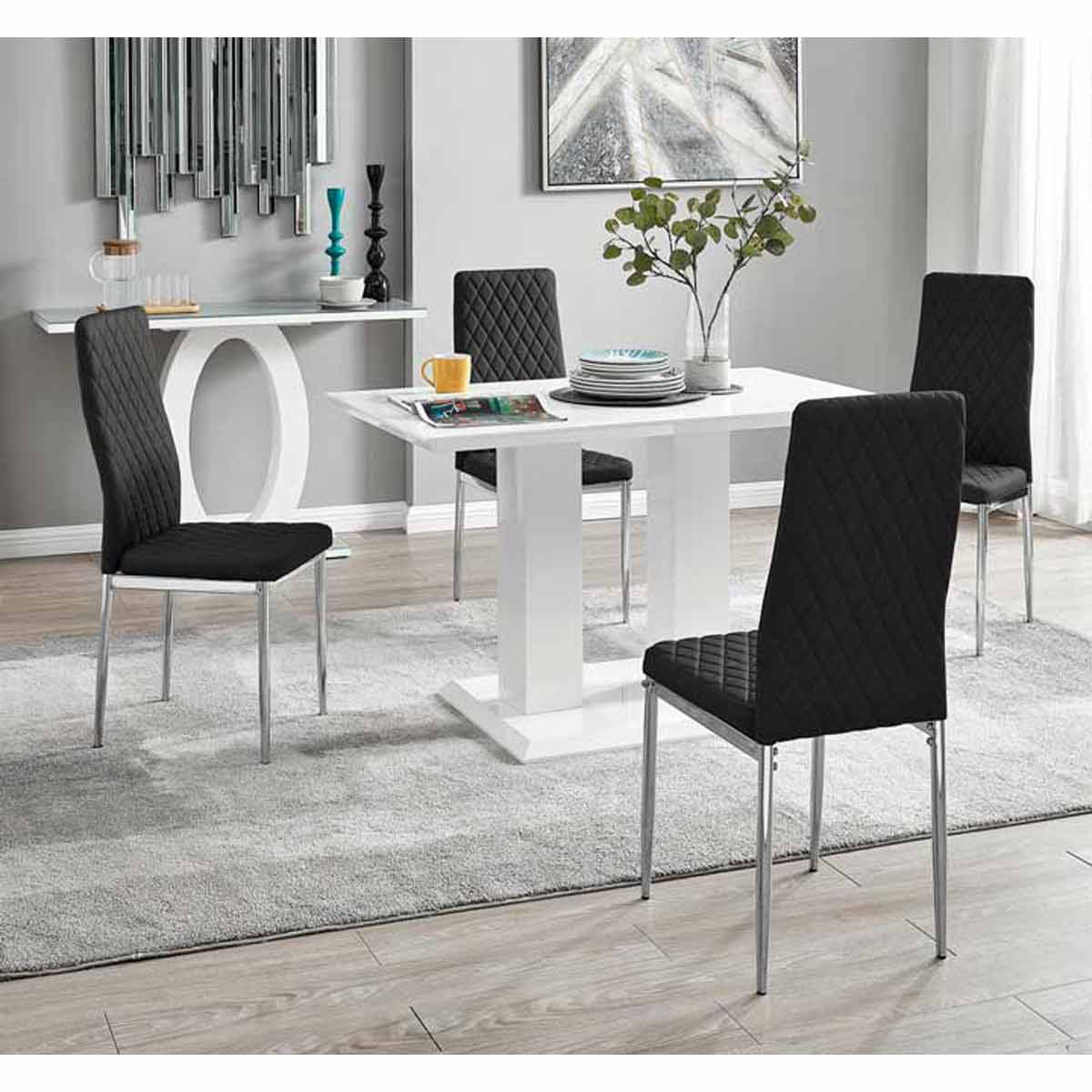 Furniture Box Imperia 4 Modern White High Gloss Dining Table And 4 Black Milan Chairs Set