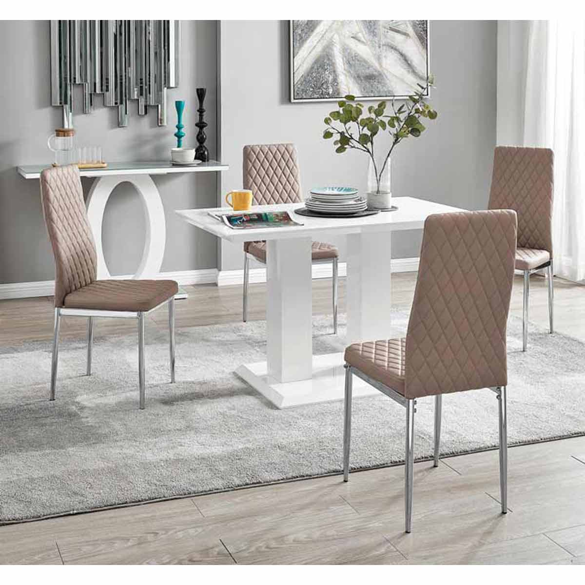 Furniture Box Imperia 4 Modern White High Gloss Dining Table And 4 Cappuccino Milan Chairs Set
