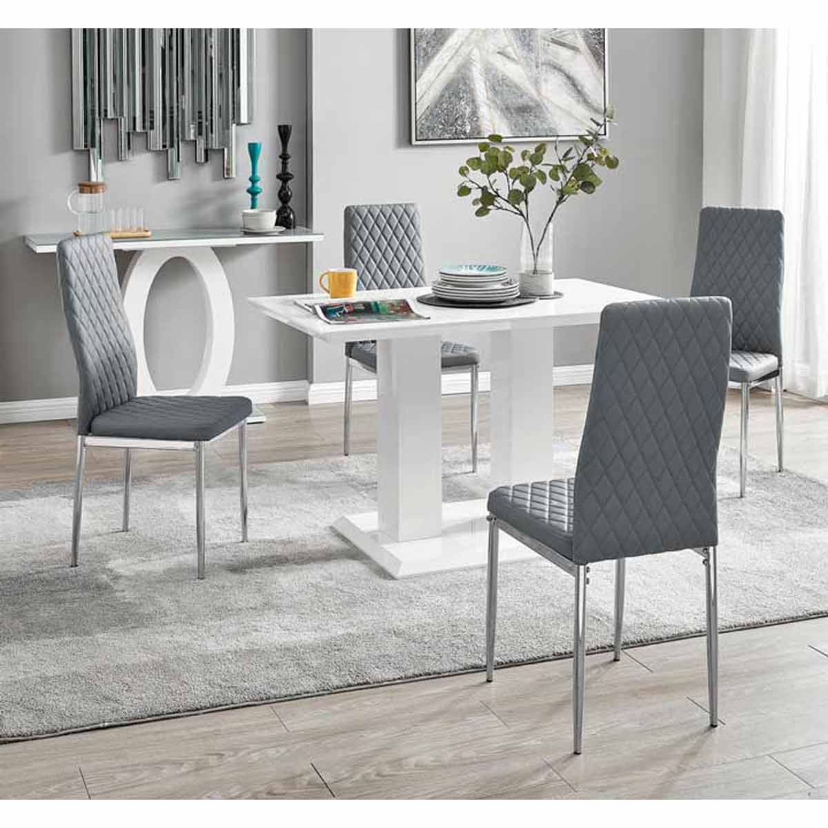 Furniture Box Imperia 4 Modern White High Gloss Dining Table And 4 Elephant Grey Milan Chairs Set