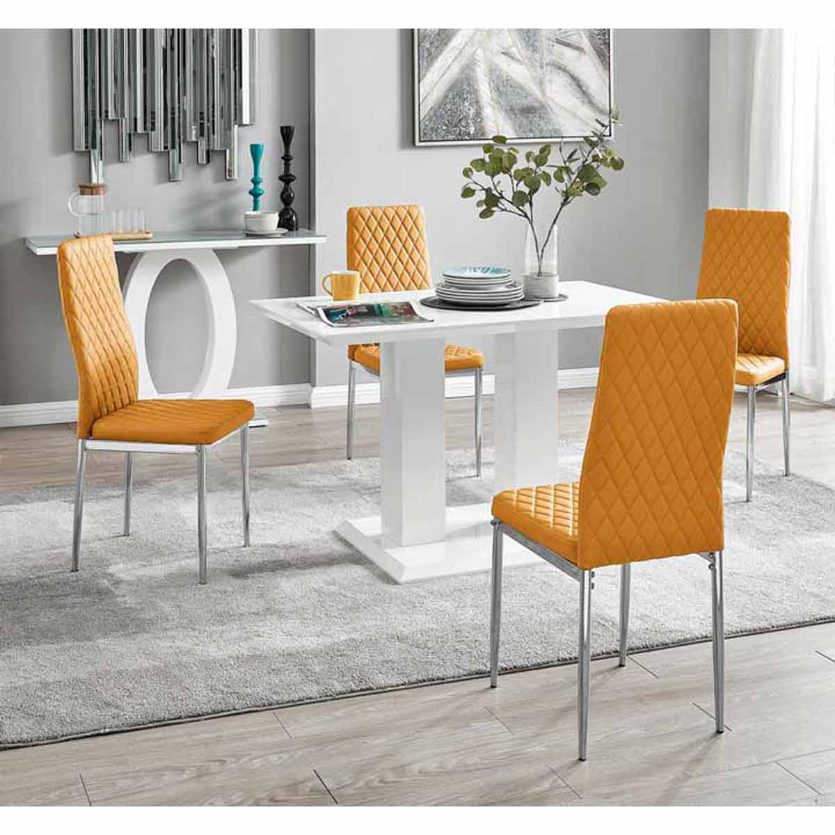 Furniture Box Imperia 4 Modern White High Gloss Dining Table And 4 Mustard Milan Chairs Set