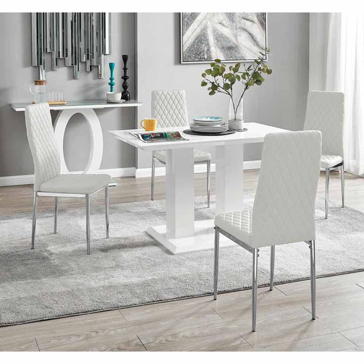 Furniture Box Imperia 4 Modern White High Gloss Dining Table And 4 White Milan Chairs Set