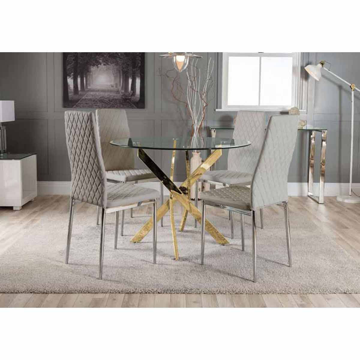Furniture Box Novara Gold Metal Round Glass Dining Table And 4 Elephant Grey Milan Dining Chairs