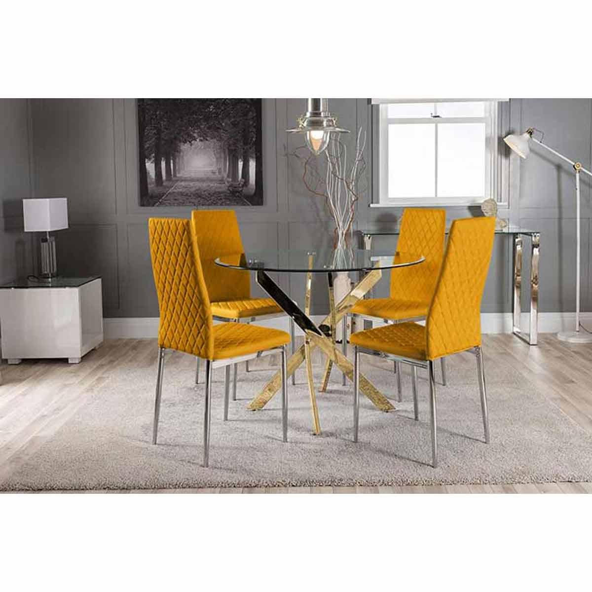 Furniture Box Novara Gold Metal Round Glass Dining Table And 4 Mustard Milan Dining Chairs
