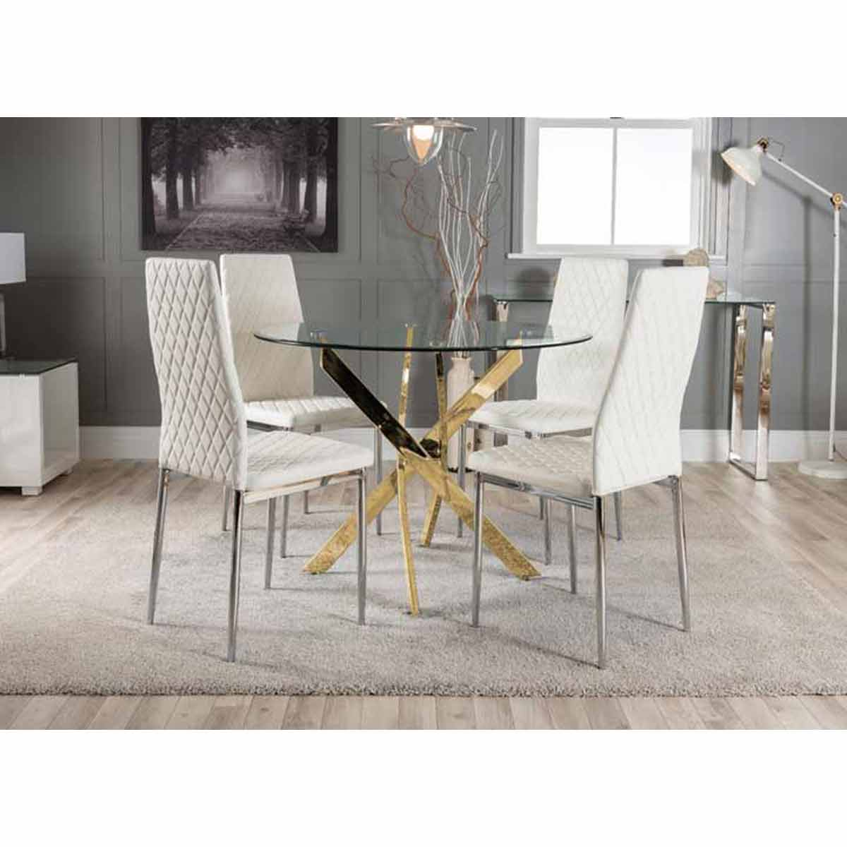 Furniture Box Novara Gold Metal Round Glass Dining Table And 4 White Milan Dining Chairs