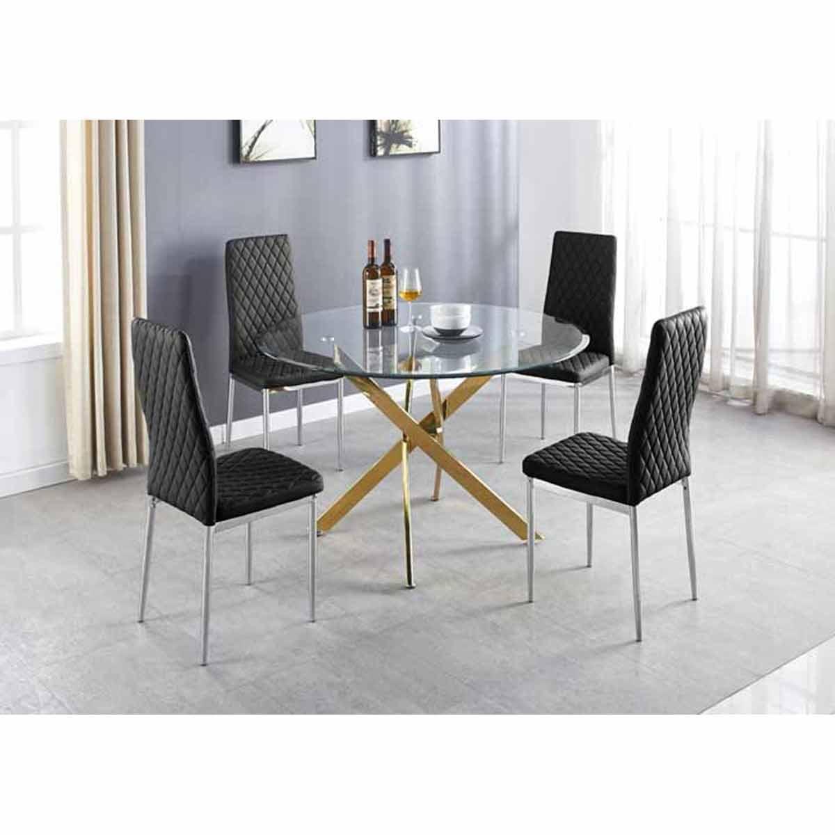 Furniture Box Novara Gold Metal Large Round Dining Table And 4 Black Milan Chairs Set