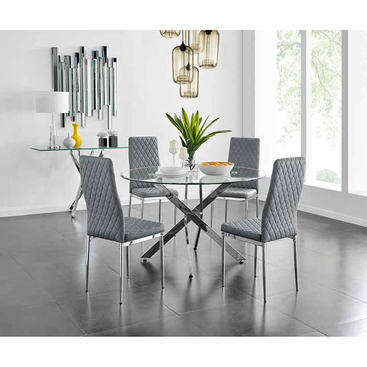 Furniture Box Novara Chrome Metal And Glass Large Round Dining Table And 4 Grey Milan Chairs Set