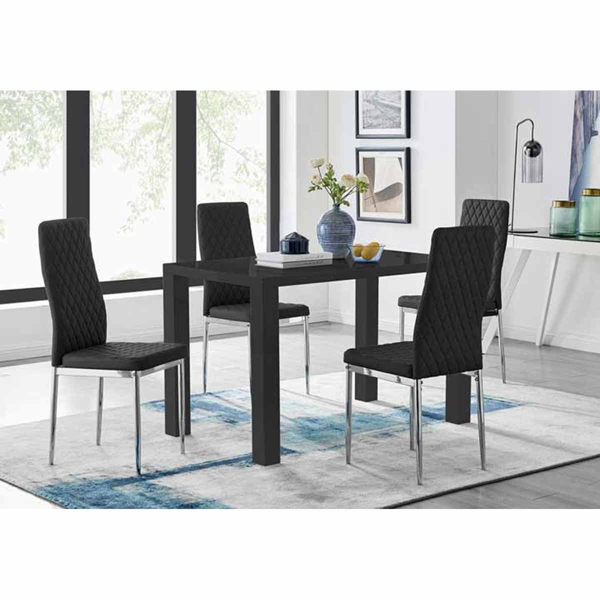 Furniture Box Pivero Black High Gloss Dining Table and 4 Black Milan Chairs Set