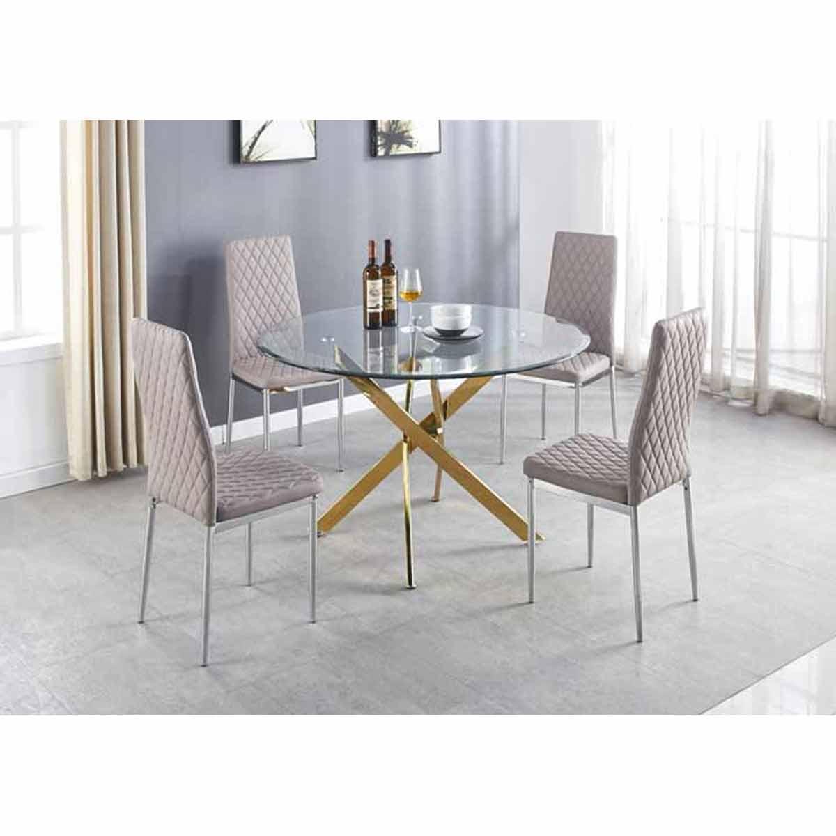 Furniture Box Novara Gold Metal Large Round Dining Table And 4 Cappuccino Grey Milan Chairs Set