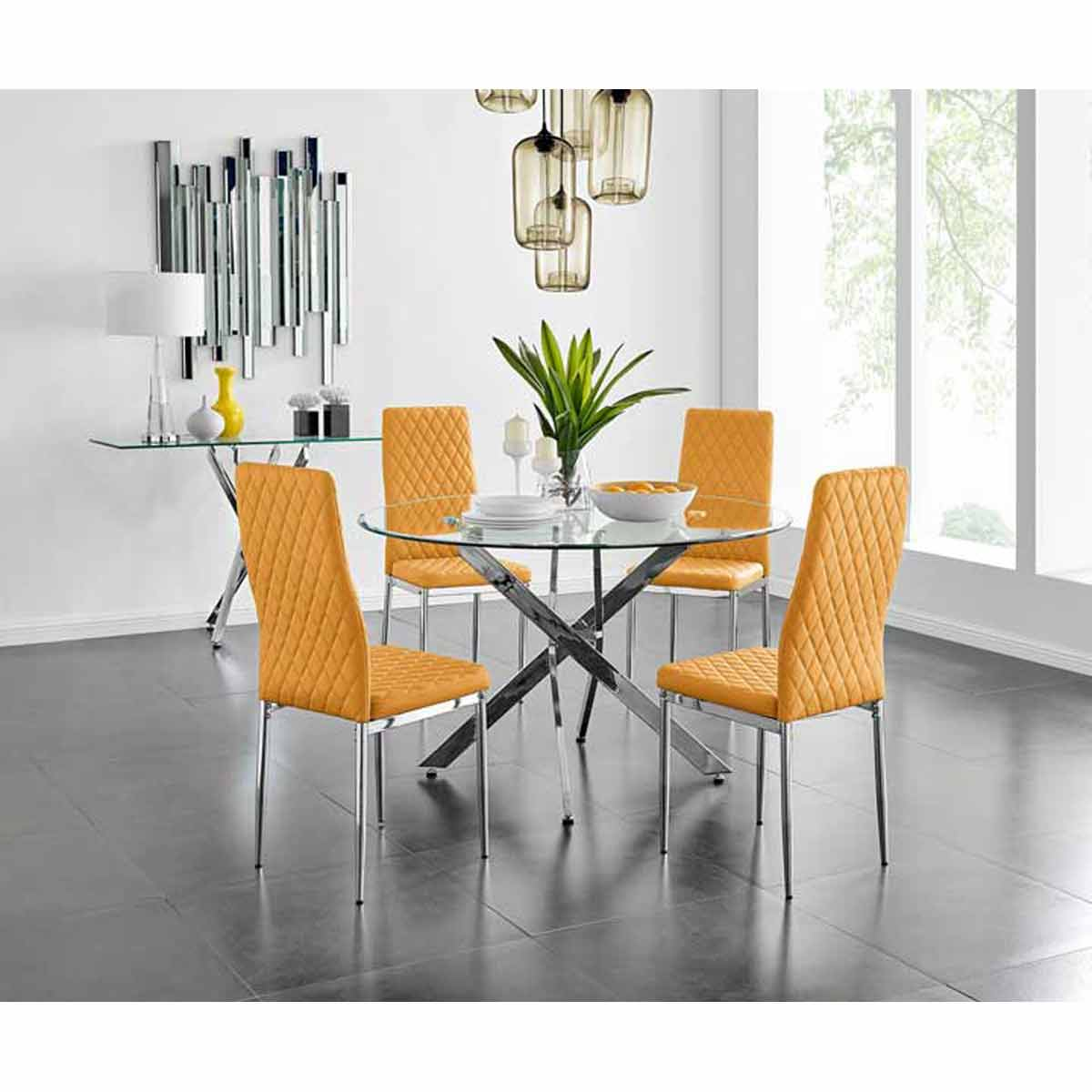 Furniture Box Novara Chrome Metal And Glass Large Round Dining Table And 4 Mustard Milan Chairs Set
