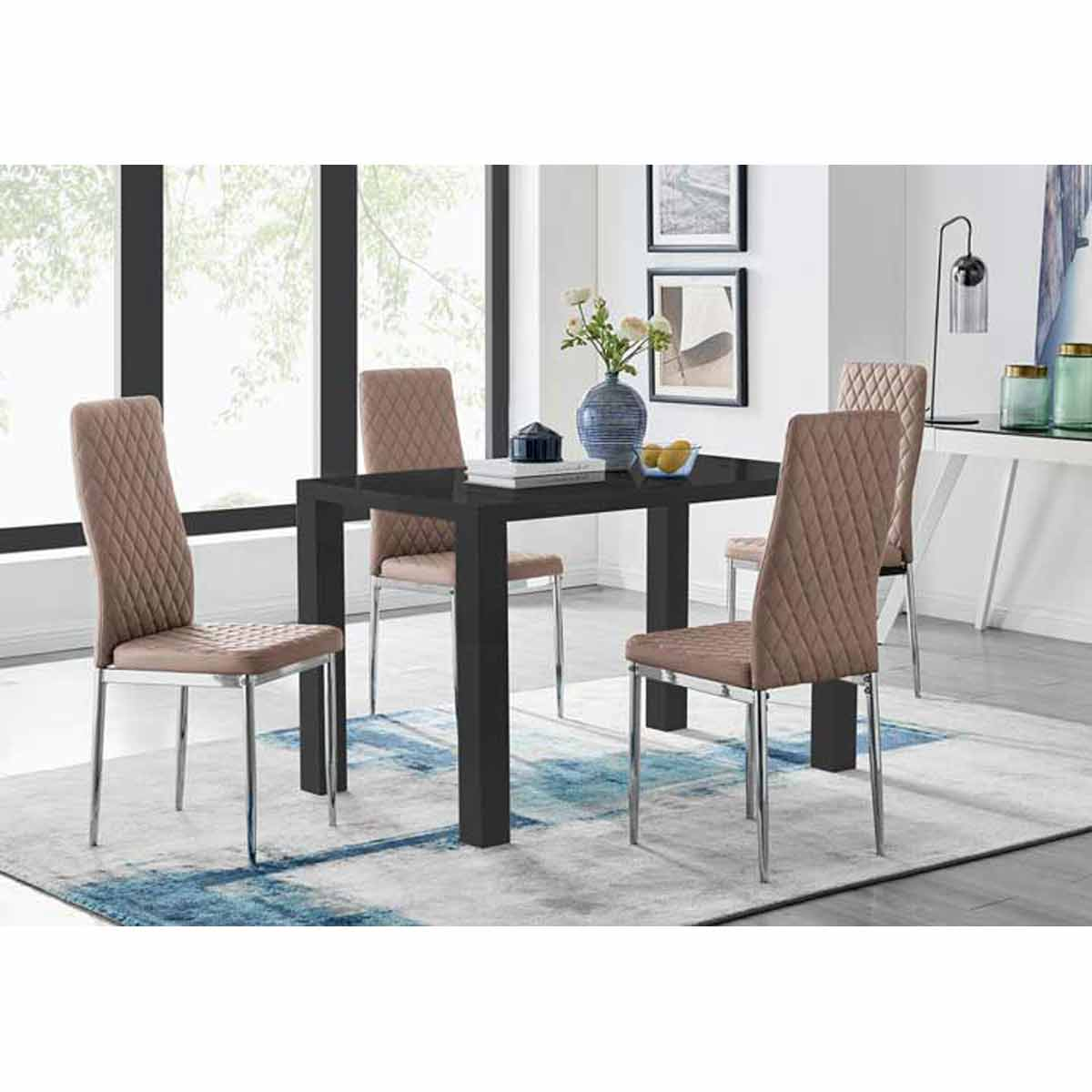 Furniture Box Pivero Black High Gloss Dining Table and 4 Cappuccino Milan Chairs Set