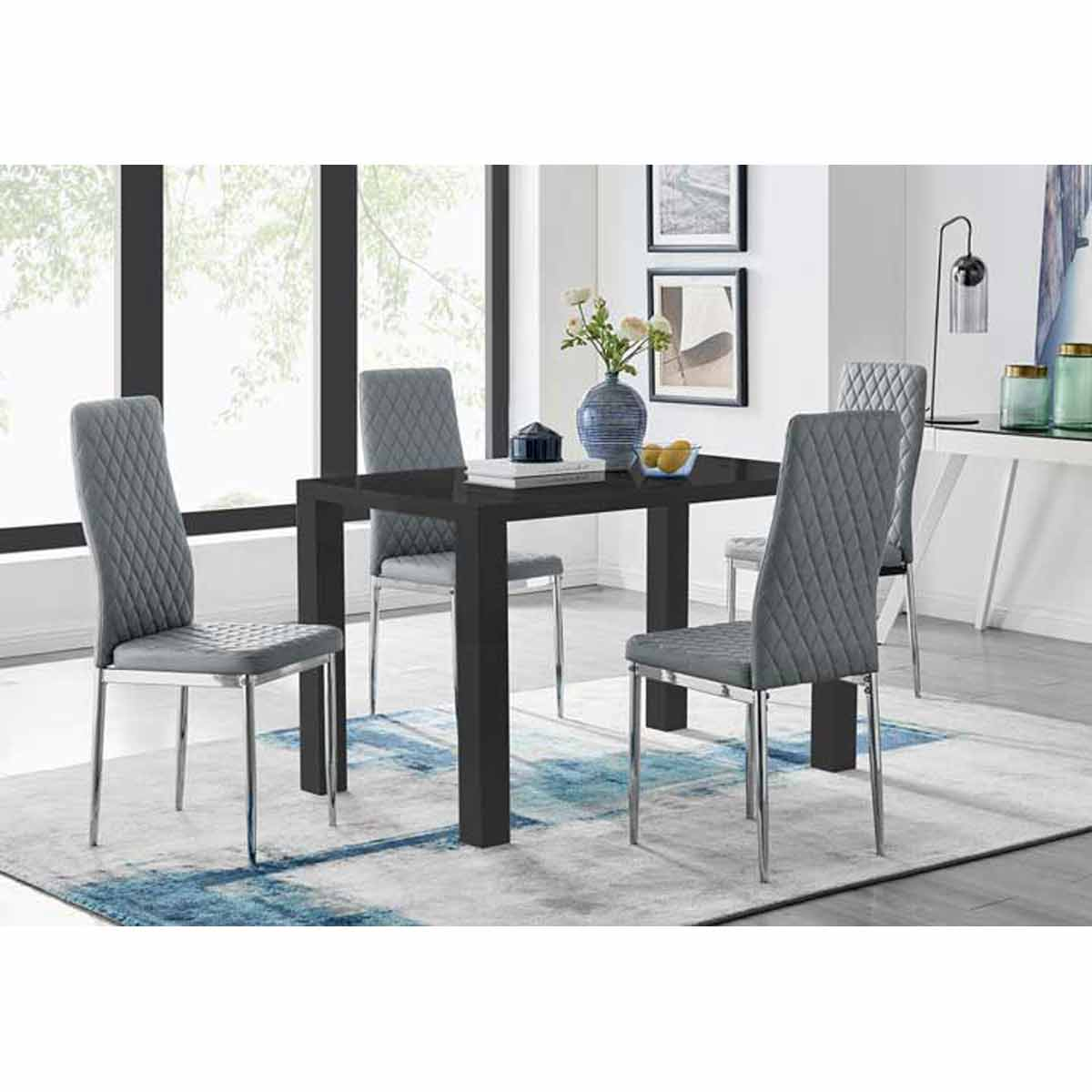Furniture Box Pivero Black High Gloss Dining Table and 4 Grey Milan Chairs Set