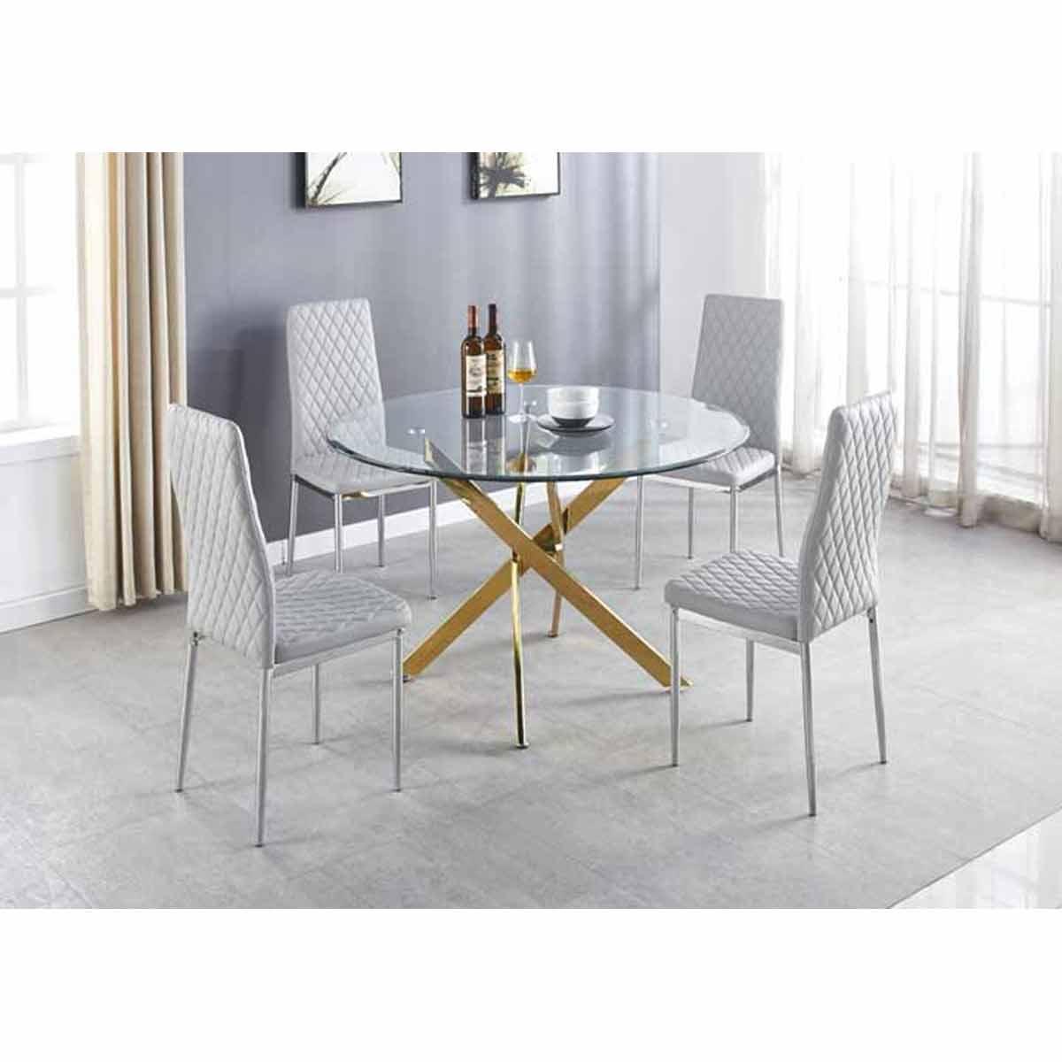 Furniture Box Novara Gold Metal Large Round Dining Table And 4 White Milan Chairs Set