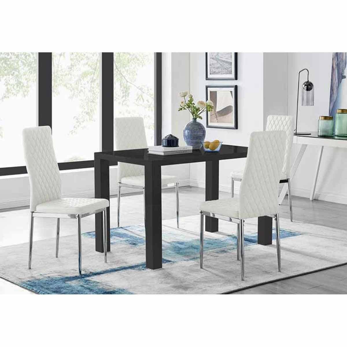 Furniture Box Pivero Black High Gloss Dining Table and 4 White Milan Chairs Set