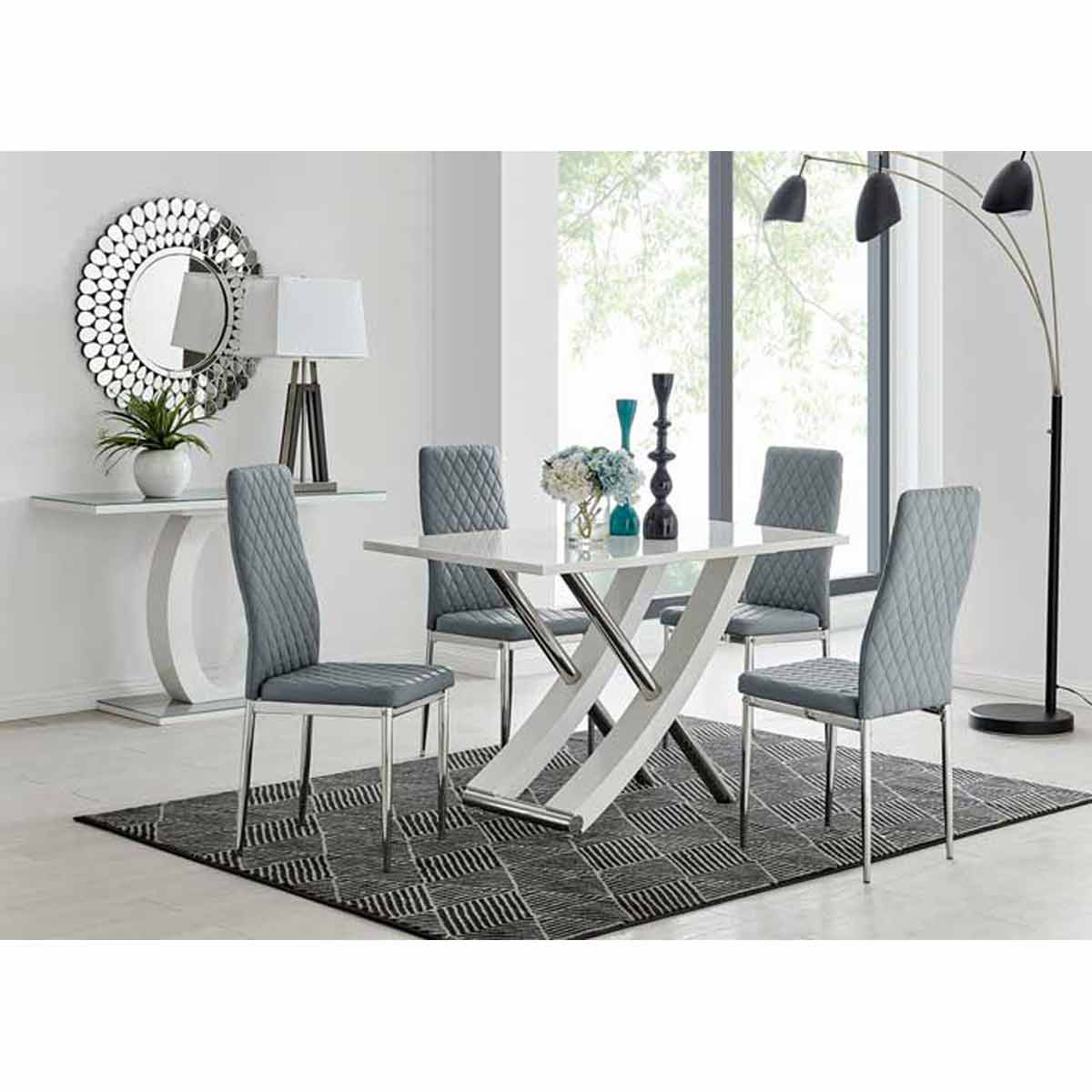 Furniture Box Mayfair 4 Seater White High Gloss And Stainless Steel Dining Table And 4 Grey Milan Chairs Set