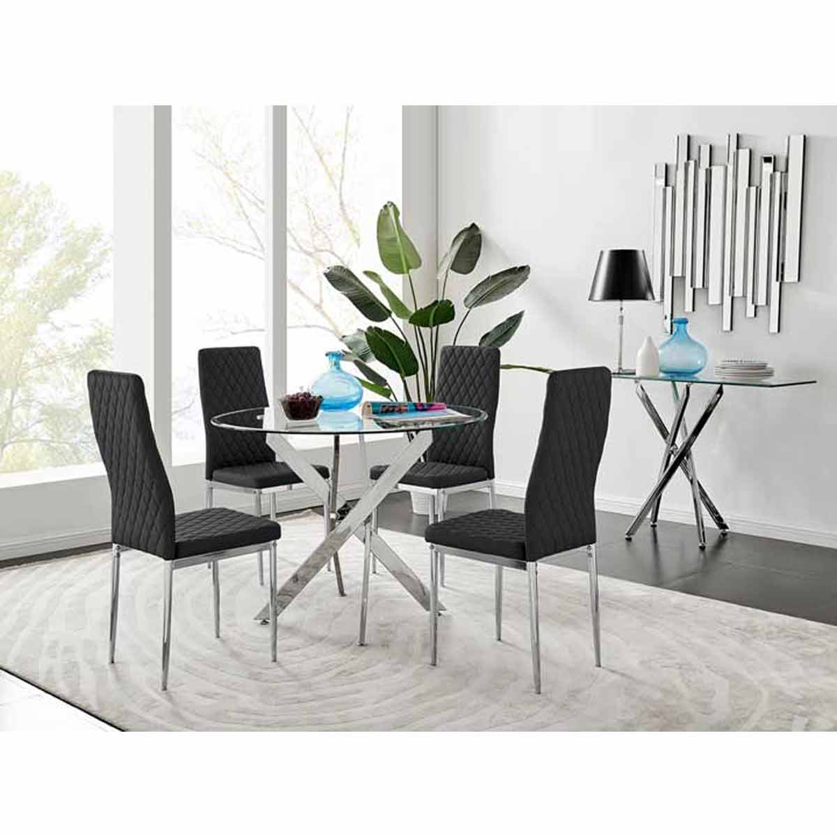 Furniture Box Novara Round Chrome Metal And Glass Dining Table And 4 Black Milan Dining Chairs Set