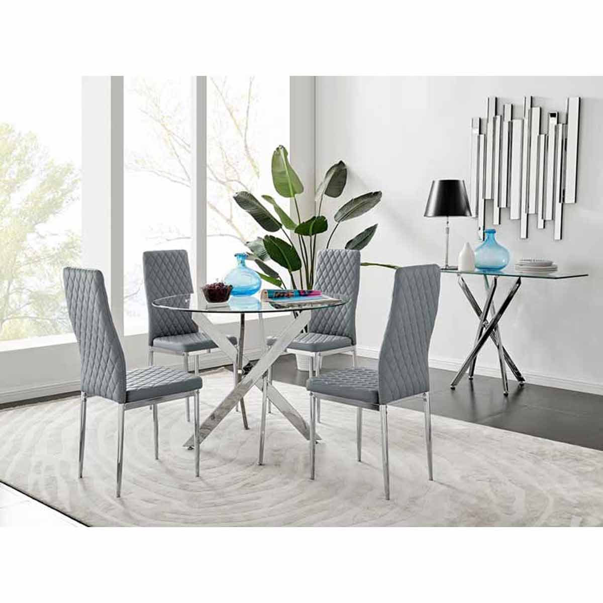 Furniture Box Novara Round Chrome Metal And Glass Dining Table And 4 Grey Milan Dining Chairs Set