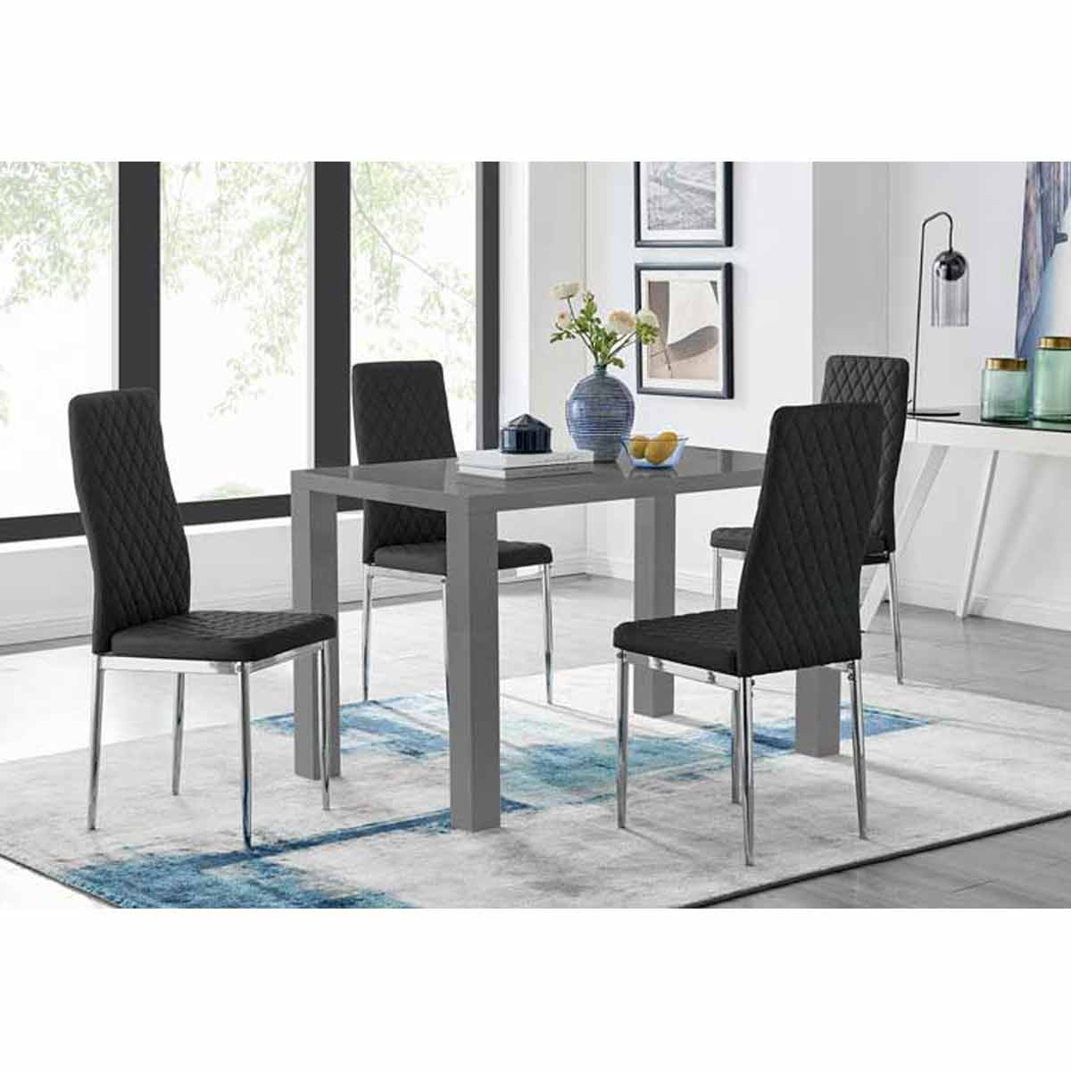 Furniture Box Pivero 4 Grey High Gloss Dining Table And 4 Modern Black Milan Chairs Set
