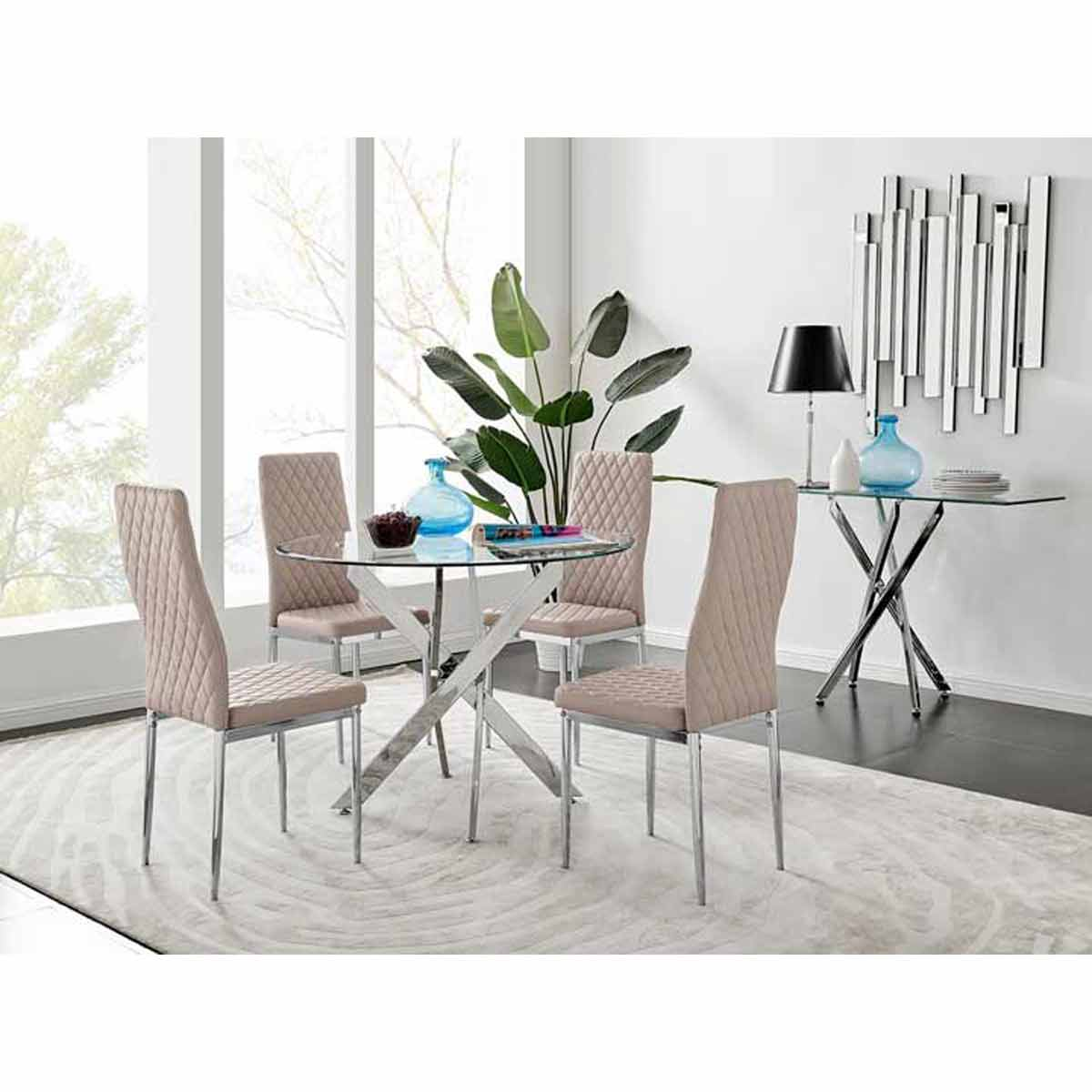 Furniture Box Novara Round Chrome Metal And Glass Dining Table And 4 Cappuccino Grey Milan Dining Chairs Set