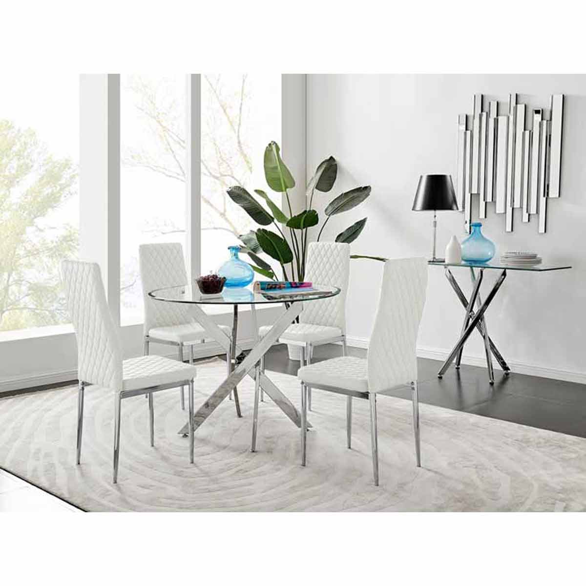 Furniture Box Novara Round Chrome Metal And Glass Dining Table And 4 White Milan Dining Chairs Set