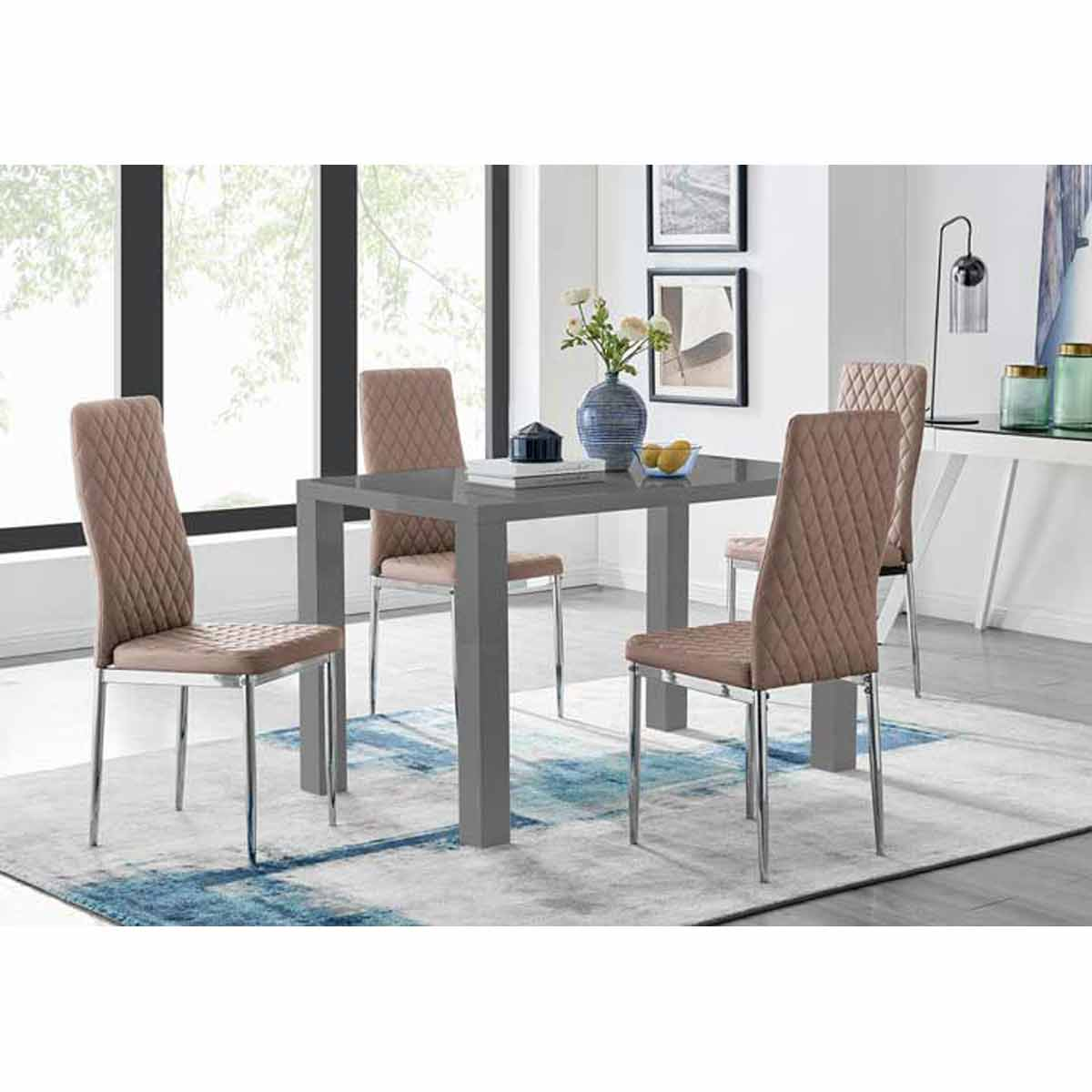 Furniture Box Pivero 4 Grey High Gloss Dining Table And 4 Modern Cappuccino Grey Milan Chairs Set
