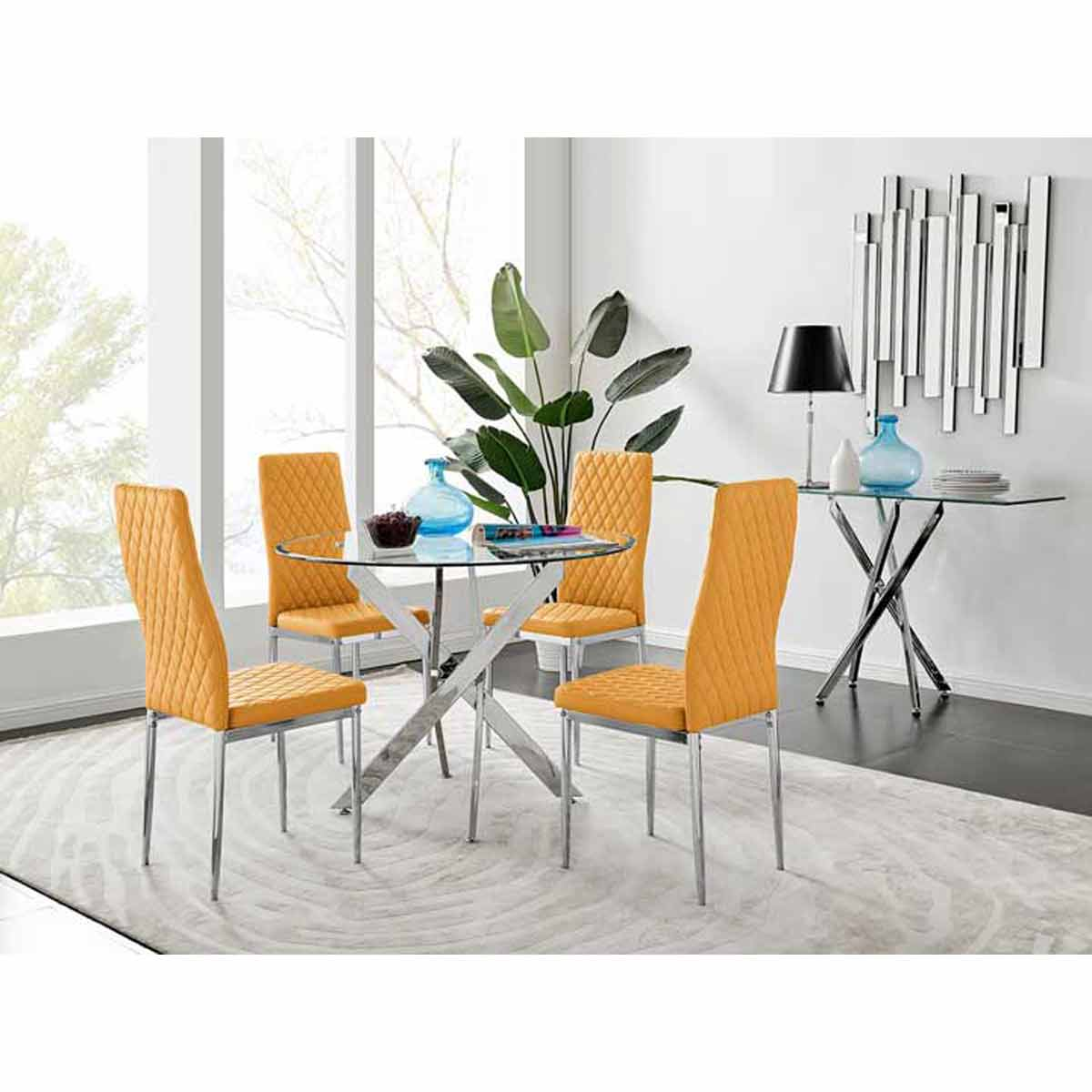 Furniture Box Novara Round Chrome Metal And Glass Dining Table And 4 Mustard Milan Dining Chairs Set