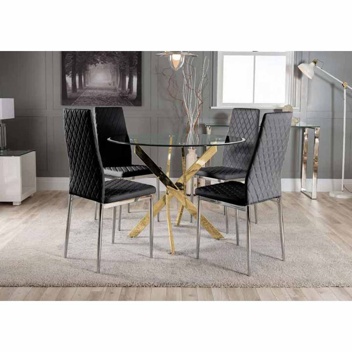 Furniture Box Novara Gold Metal Round Glass Dining Table And 4 Black Milan Dining Chairs