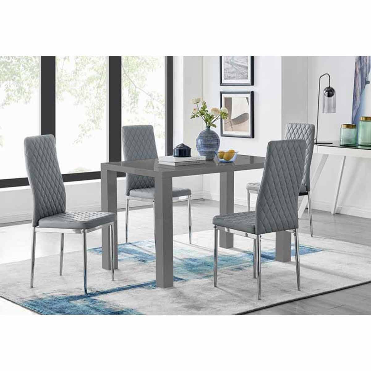 Furniture Box Pivero 4 Grey High Gloss Dining Table And 4 Modern Elephant Grey Milan Chairs Set