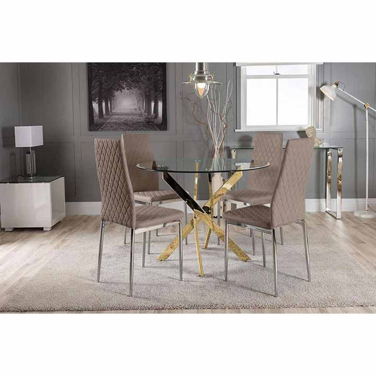 Furniture Box Novara Gold Metal Round Glass Dining Table And 4 Cappuccino Grey Milan Dining Chairs