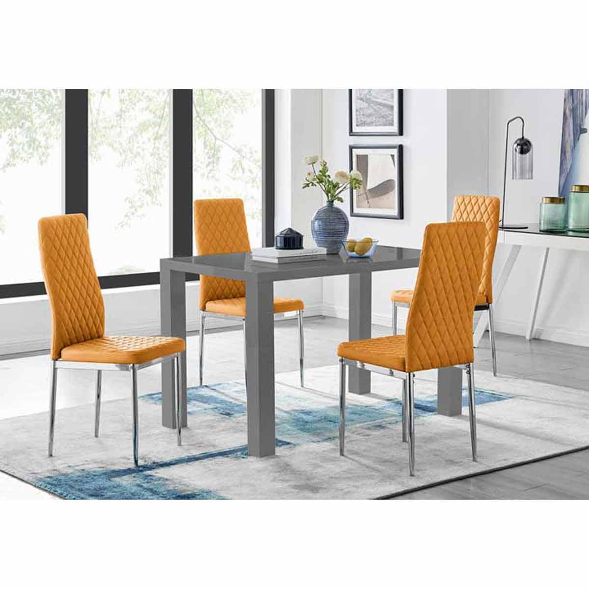 Furniture Box Pivero 4 Grey High Gloss Dining Table And 4 Modern Mustard Milan Chairs Set