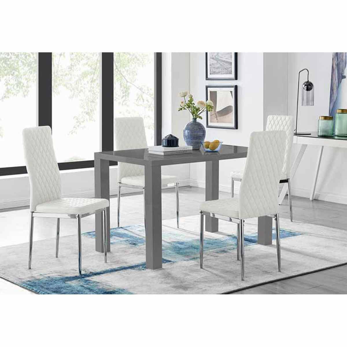 Furniture Box Pivero 4 Grey High Gloss Dining Table And 4 Modern White Milan Chairs Set