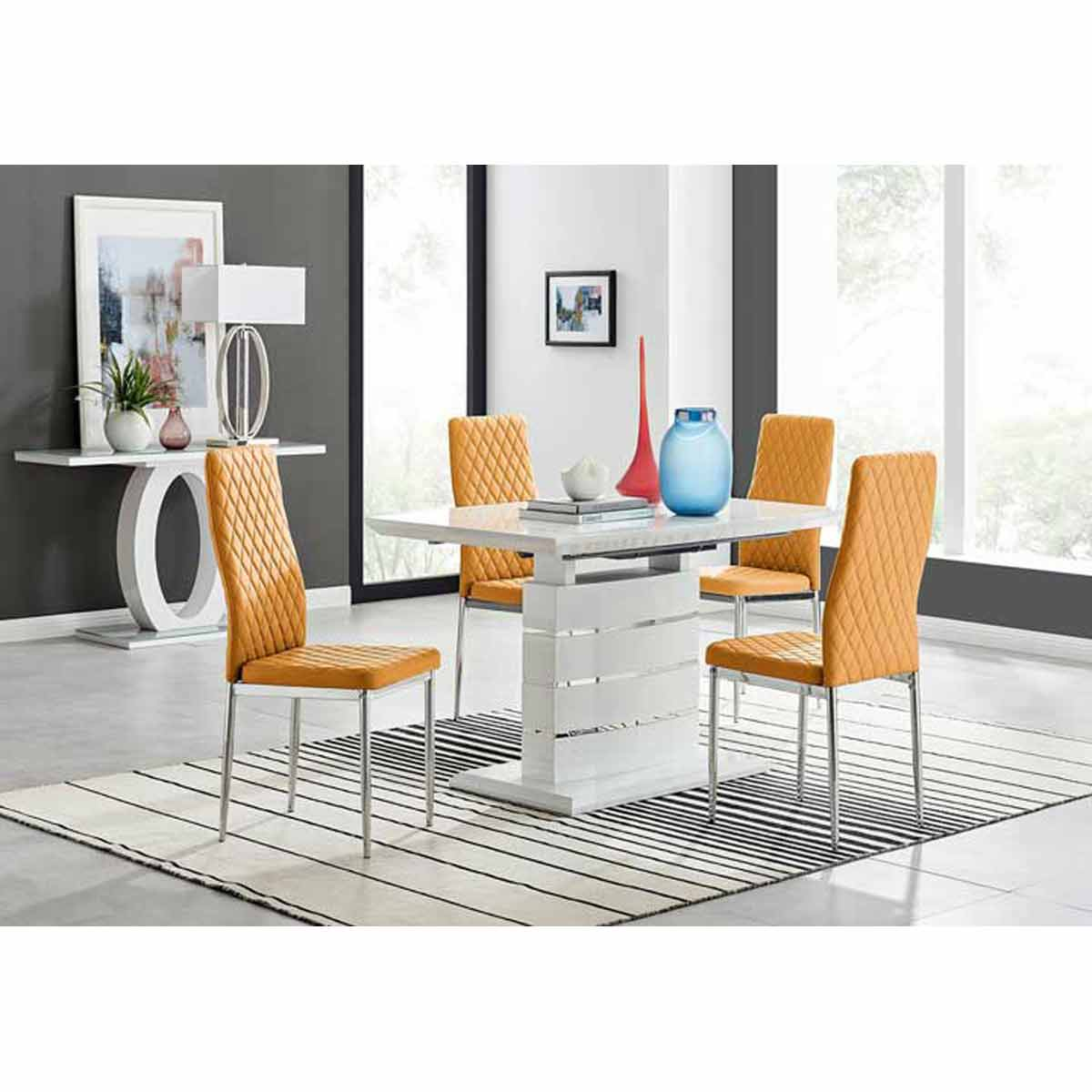 Furniture Box Renato 120cm High Gloss Extending Dining Table and 4 Mustard Milan Chairs